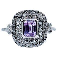 Natural Pink Sapphire and Diamond Platinum Ring