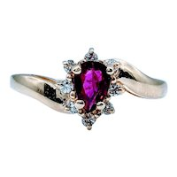 Beautiful Purplish Red Ruby and Diamond Ring