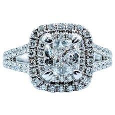 18kt Cushion-Cut Diamond Ring