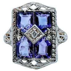 14kt Filigree Amethyst & Diamond Ring