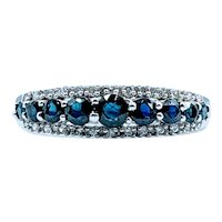Beautiful Deep Blue .50ctw Sapphire & Diamond Ring