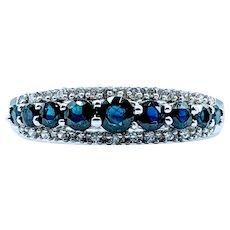 Beautiful Deep Blue .50ctw Sapphire & Diamond Ring