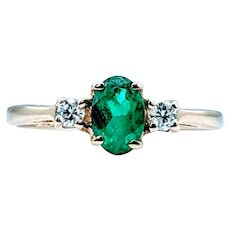 Bright Green Natural Emerald and Diamond Ring