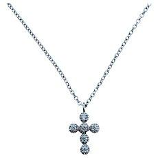 18kt Dainty Diamond Cross Pendant
