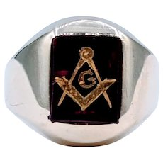 Men's Vintage Masonic Ring with Created Ruby