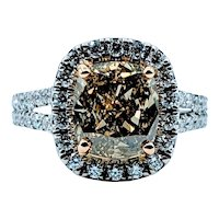 Fancy Deep GIA Graded 3.01ct Cushion Cut Diamond Ring