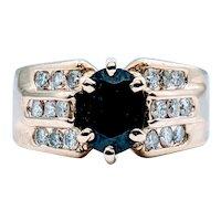 Bold Midnight Blue Sapphire and Diamond Ring