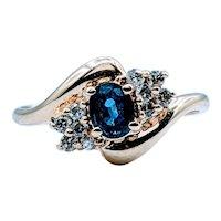 Dainty Sapphire and Diamond Ring