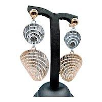 Unique 18k Two Tone Gold Earrings