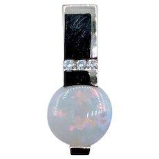 Gorgeous 10mm Opal and Diamond Pendant