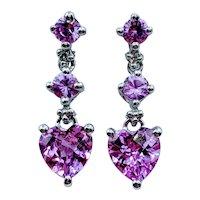 Beautiful Pink Sapphire Heart Earrings
