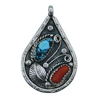 Beautiful Vintage Turquoise & Coral Sterling Pendant