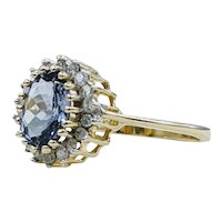 Stunning Created Sapphire & Natural Diamond Gold Ring