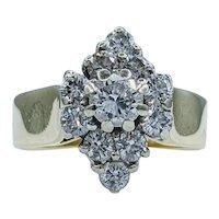 Stunning Vintage Diamond Cluster Gold Ring