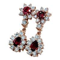 Stunning Ruby & Diamond Dangle Earrings!