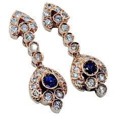 Vintage Sapphire & Diamond Dangle Earrings