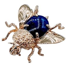 Adorable Lapis Lazuli Gold Fly Brooch