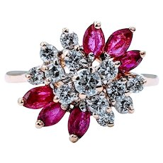 Beautiful .75ctw Diamond and Ruby Ring