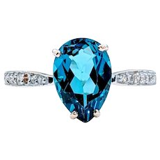 Gorgeous London Blue Topaz & Diamond Ring