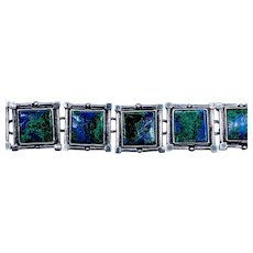 Vintage Lapis Lazuli Sterling Silver Bracelet