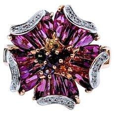 "Gorgeous 18k Bellarri ""Mademoiselle"" Rhodolite and Diamond Ring"