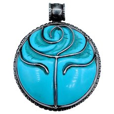 Large Sterling Silver Carved Turquoise Pendant