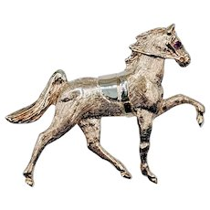 Unique Gold Horse Brooch with Ruby Eye