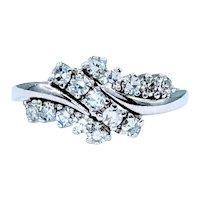 Midcentury Diamond Cluster Ring