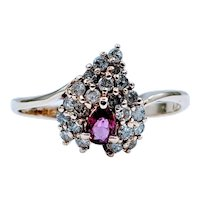 Gorgeous Ruby & Diamond Leaf Shaped Ring