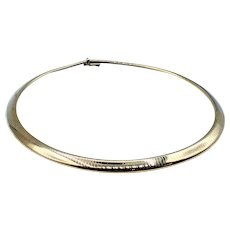 Sophisticated Solid Gold Omega Collar - 14K