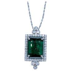5.32ct Natural Emerald and Diamond Pendant