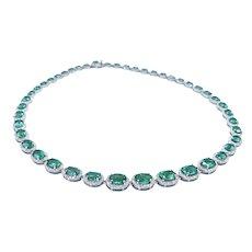Sensational Emerald & Diamond Riviere Necklace