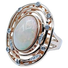 Dazzling Opal and Diamond Fashion Ring
