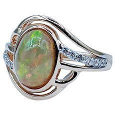 Whimsical Opal and Diamond Ring