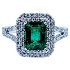 Split Shank Natural Emerald and Diamond Ring