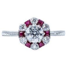 Splendid Vintage Ruby & Diamond Ring