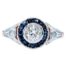 Art Deco Old European-Cut Diamond and Sapphire Ring