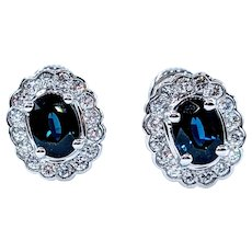 Exquisite Sapphire and White Diamond Earrings