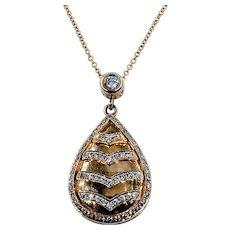 Beautiful Diamond and Yellow Gold Pendant Necklace