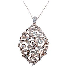 Scrolling Floral Motif Diamond Pendant