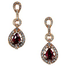 Spectacular Ruby and Diamond Drop Earrings