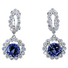 Glamorous Tanzanite & Diamond Earrings