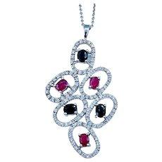 Beautiful Modern Ruby, Sapphire, and Diamond Pendant