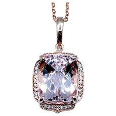 Gleaming Cushion-Cut Morganite and Diamond Pendant