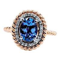 Beautiful Oval Tanzanite & Diamond Ring