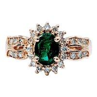Classic Emerald & Diamond Halo Ring