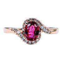 18k Natural Ruby and Diamond Ring