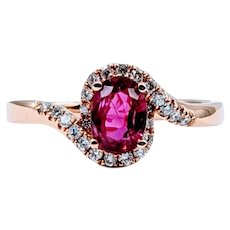 18k Natural Ruby and Diamond Ring