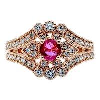Elegant Ruby & Diamond Heirloom Ring