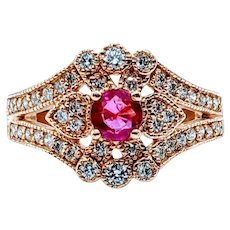 Elegant Ruby & Diamond Heirloom Ring